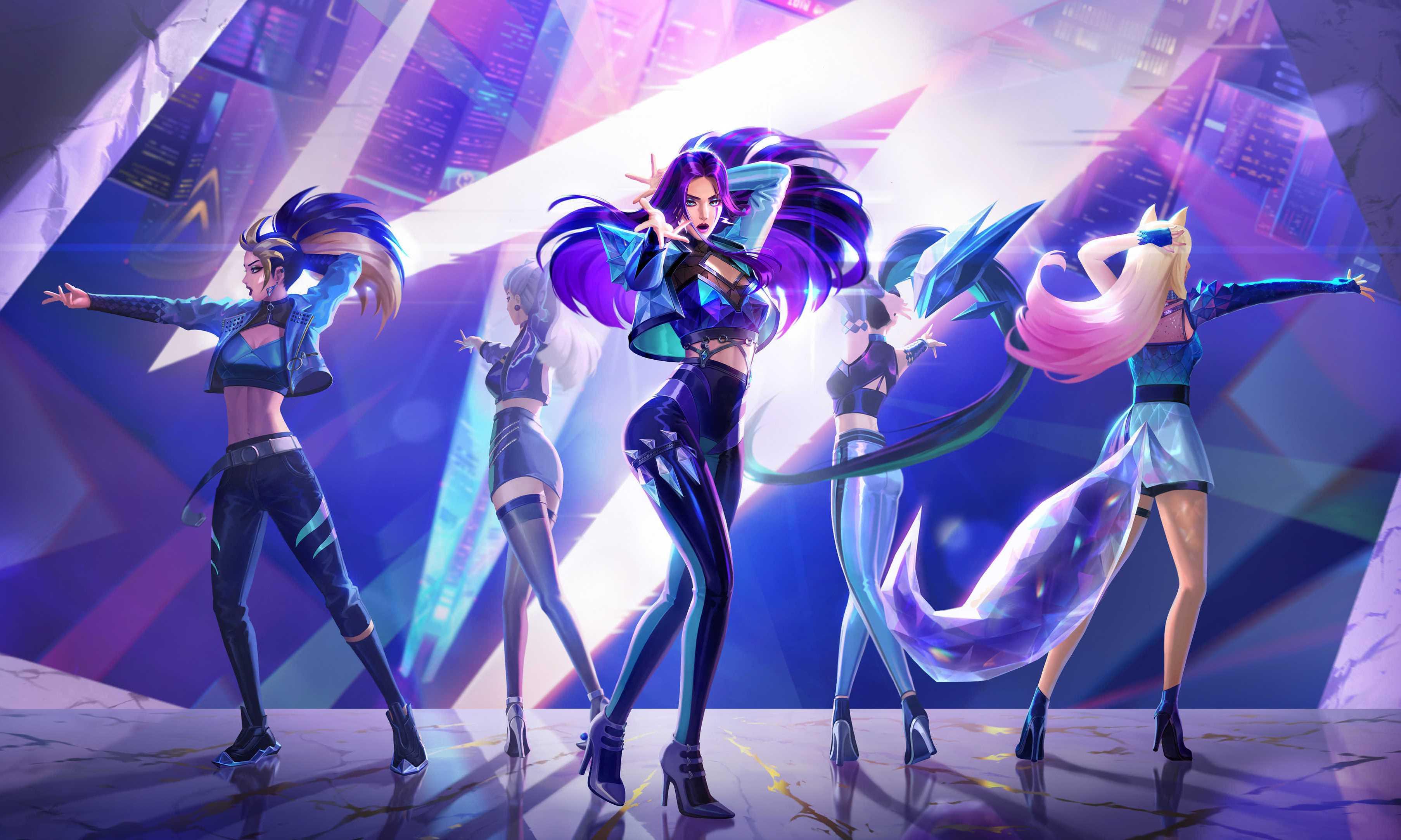 4k Wallpaper League Of Legends Ahri Akali Evelynn Kai'sa Seraphine K_Da