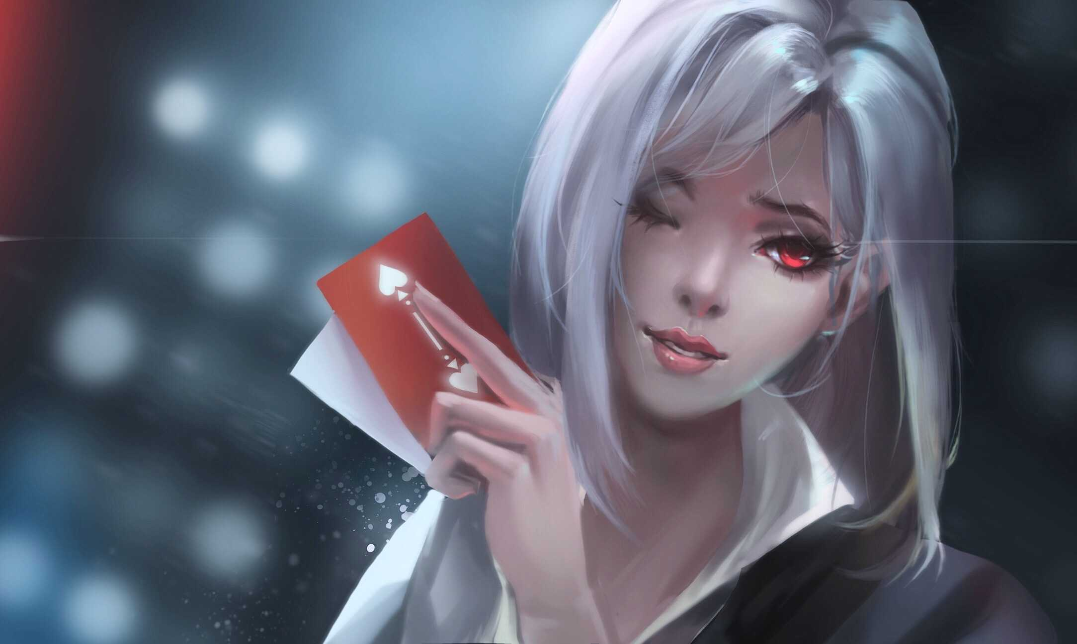 Girl Paly With Cards Wallpaper Overwatch