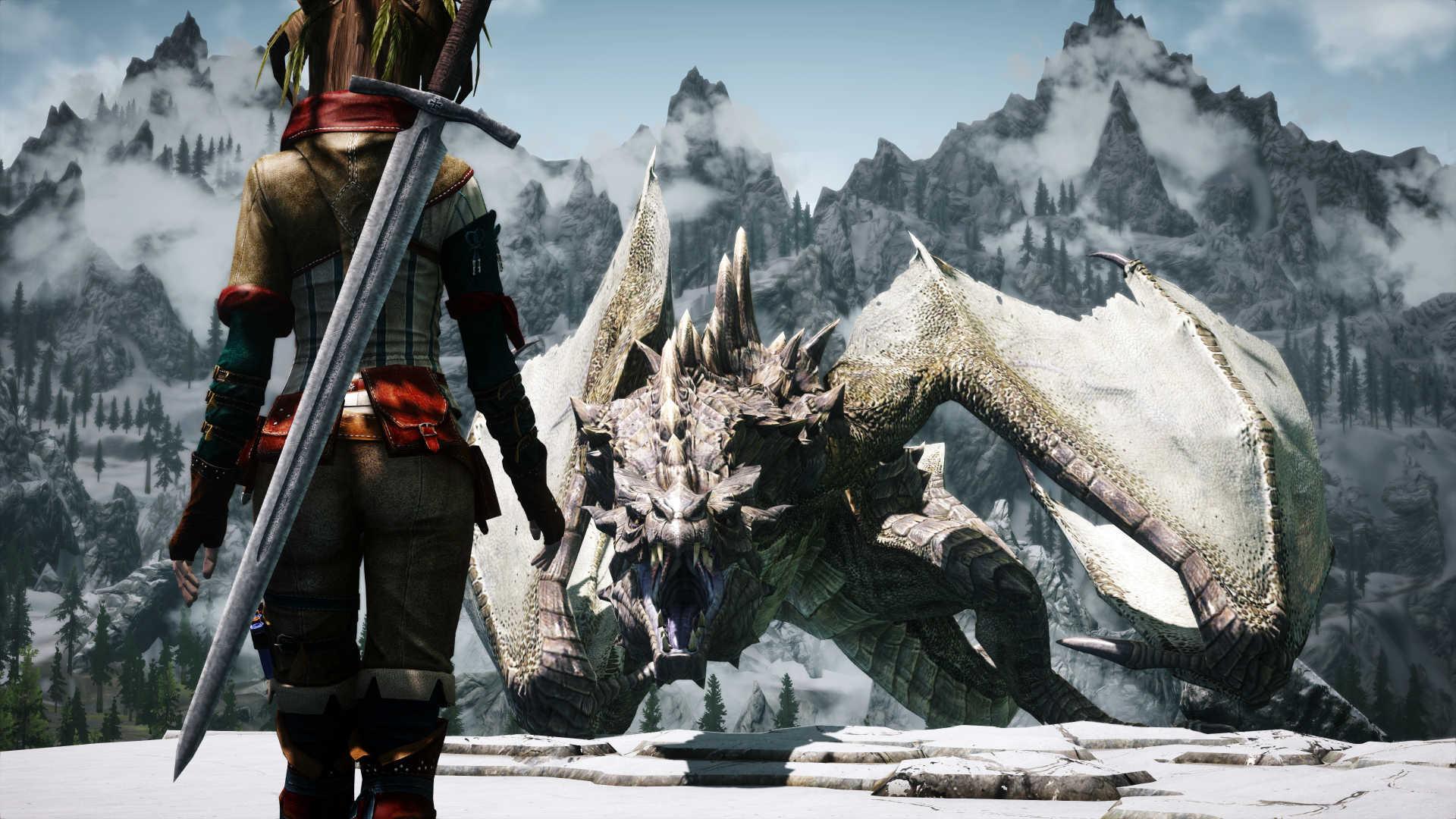 Hd Background Skyrim Dragon Fog Art Game Wallpaper Alduin