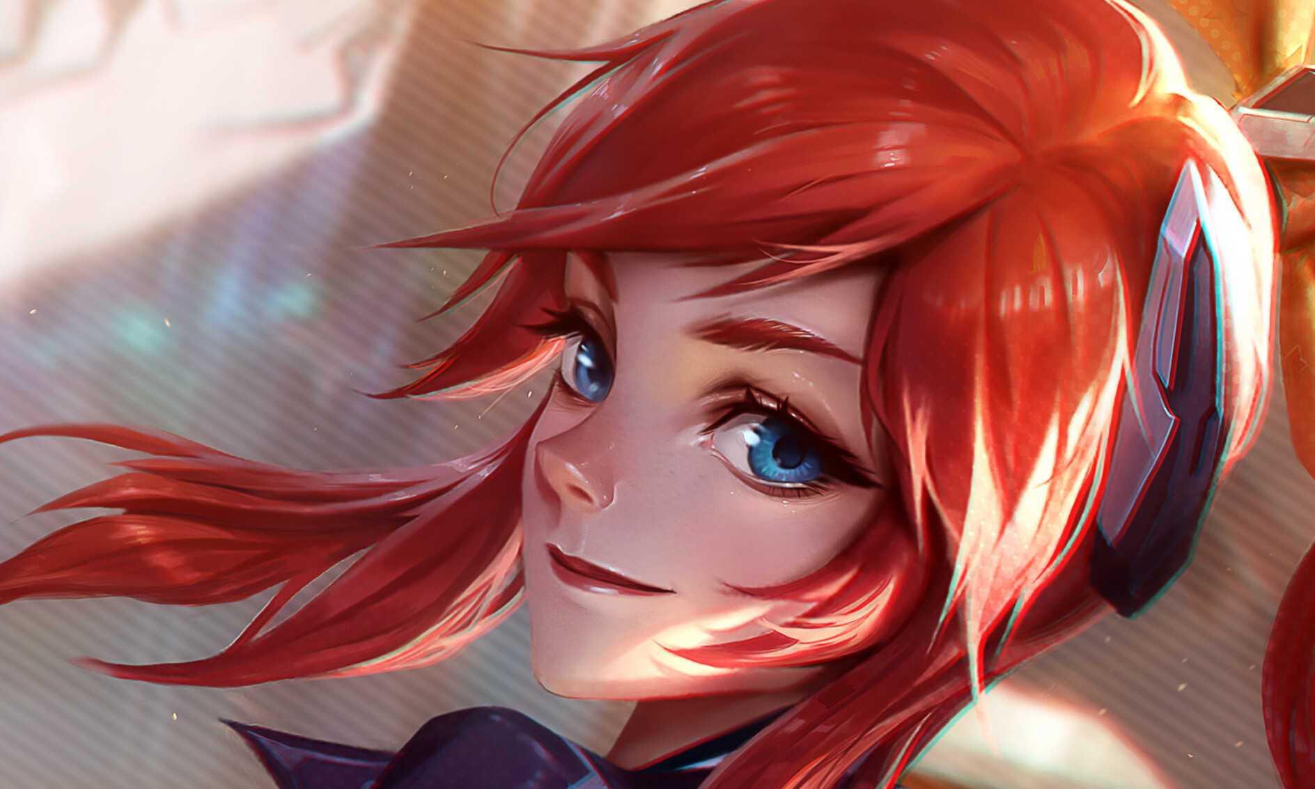 League Of Legends Girl Blue Red Hair 4k Wallpaper Eyes