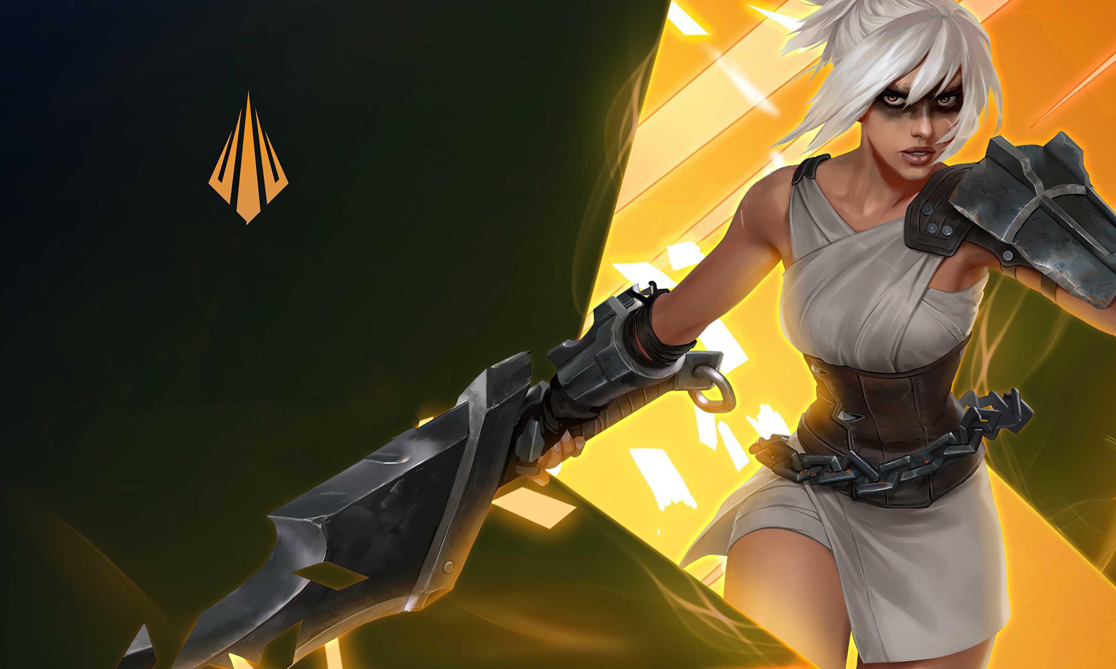 League Of Legends Riven Woman White Hair 4k Wallpaper Warrior