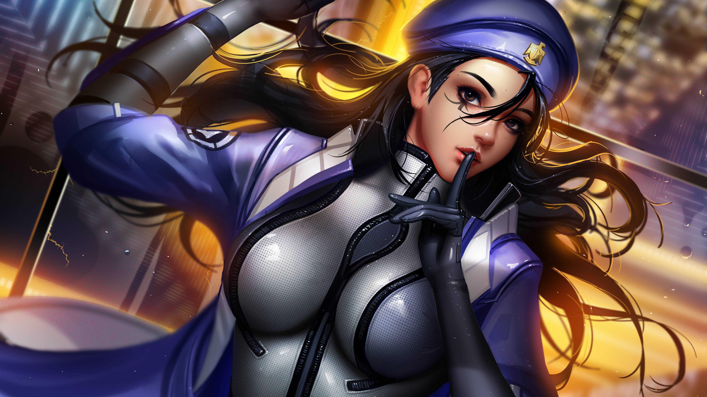 Overwatch Ana Girl Black Hd Wallpaper Hair