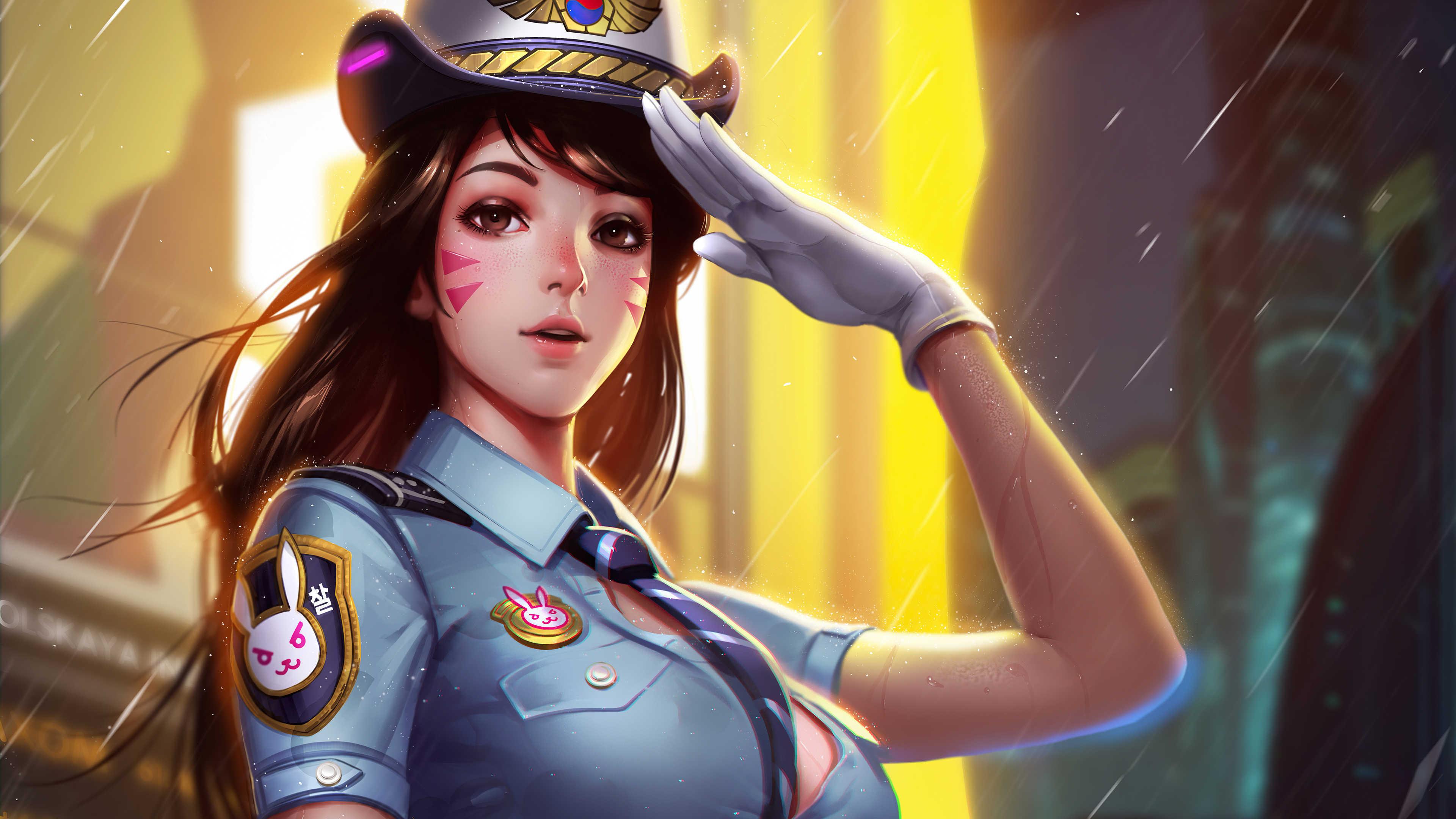 Overwatch Girl D.Va Police Eyes Brown Hair Uniform Hat Long Hair Wallpaper Brown