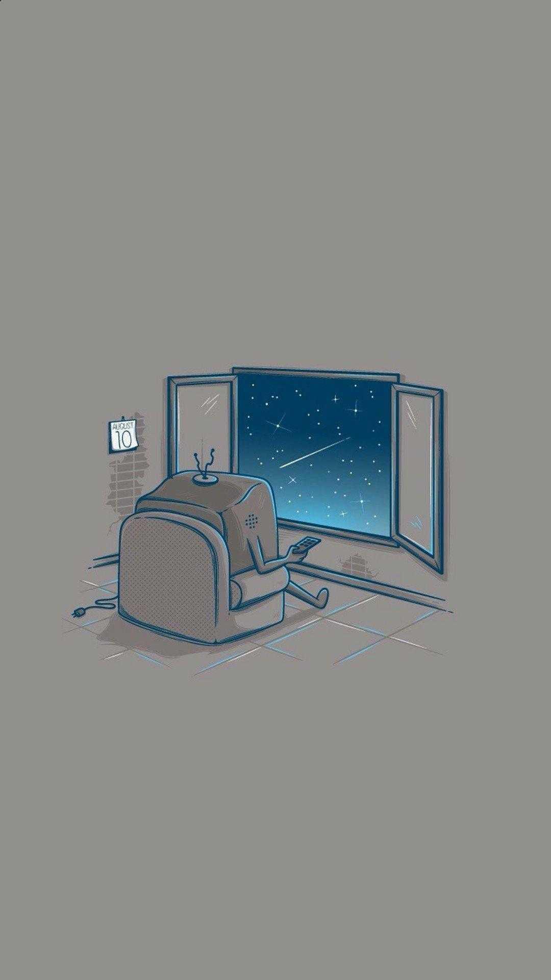 Space Minimal Art Wallpaper Iphone Plus Illustration