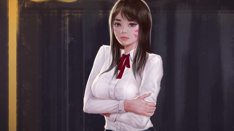 Video Game Overwatch Girl Hair D.Va 4k Wallpaper Brown