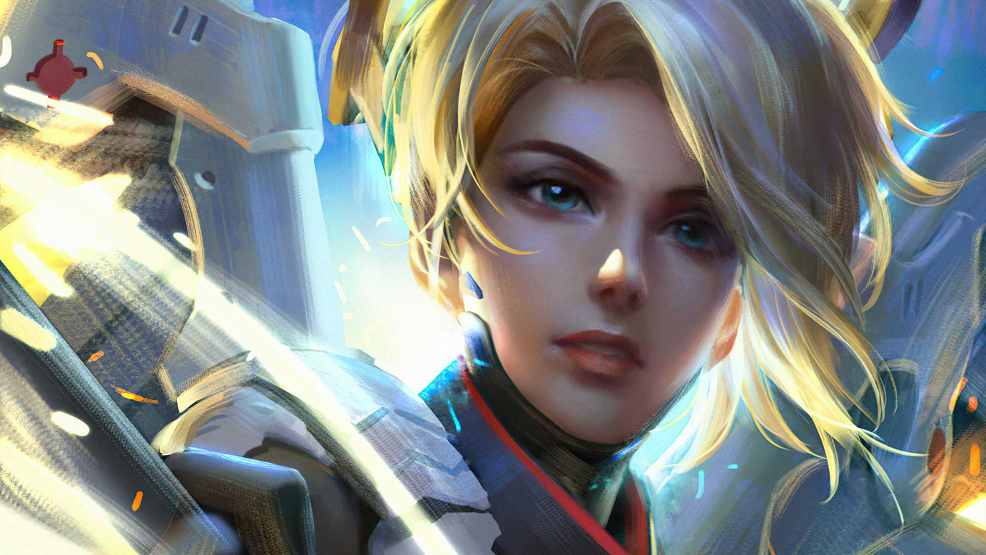 Video Game Overwatch Mercy Girl Blonde Blue Eyes Hd Wallpaper _ Background Image Face