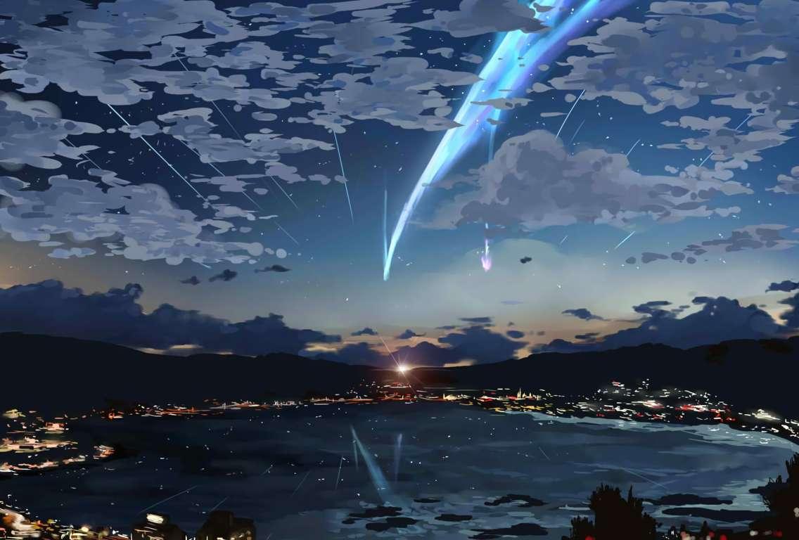 Wallpaper Kimi No Na Your Name Mitsuha Clouds Wa