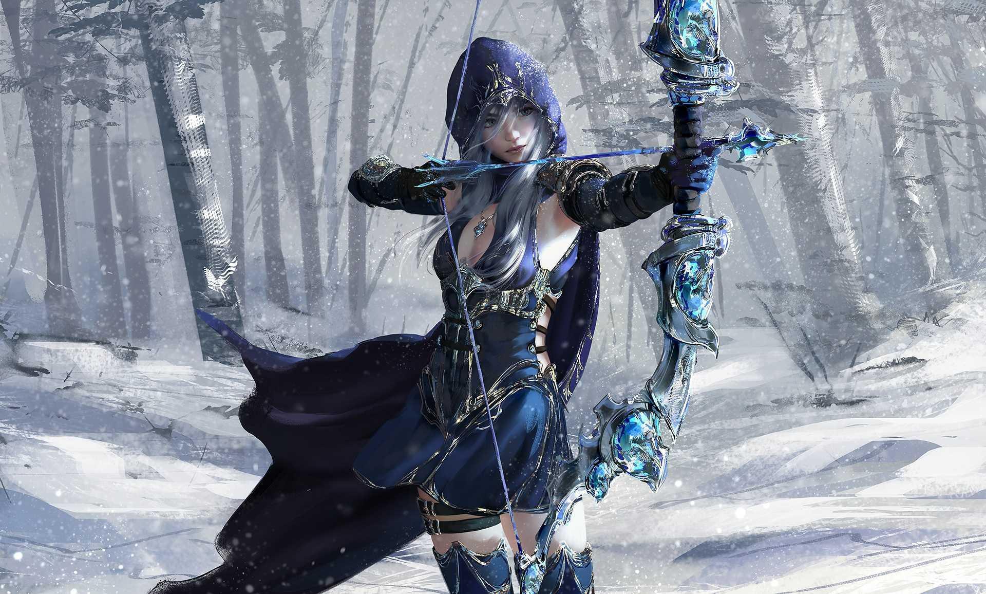 Winter League Of Legends Bowashe Archer Wallpaper Girl