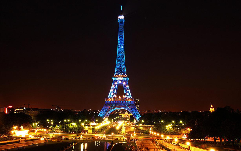 Eiffel Tower Paris Night Illustration Art