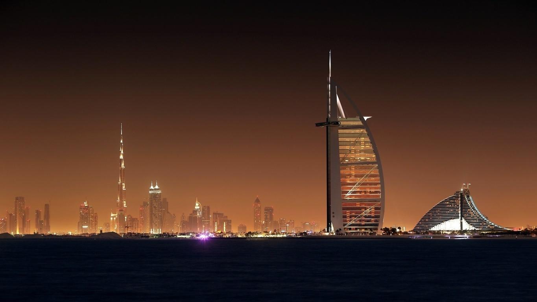 Man Made Burj Khalifa Dubai City Night Hd Background Image Buildings
