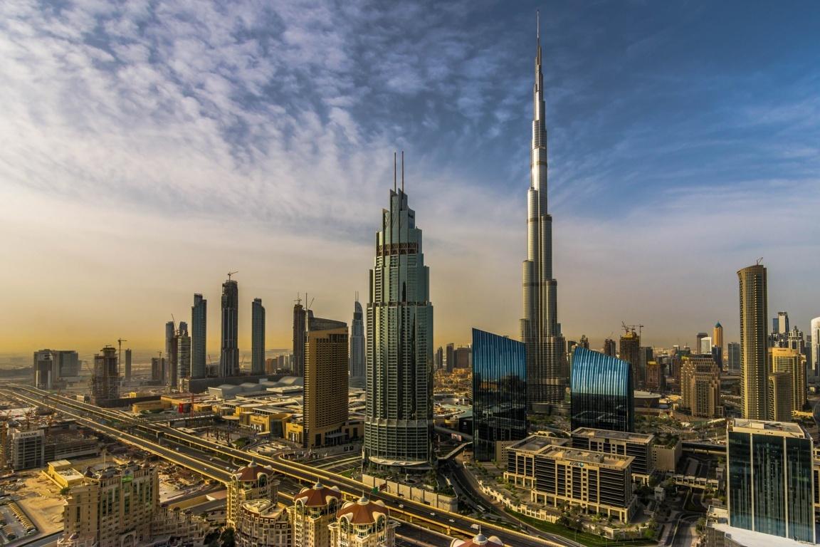Man Made Burj Khalifa Dubai United Arab Emirates Cityscape Road Light Hd Wallpaper Background Image Buildings