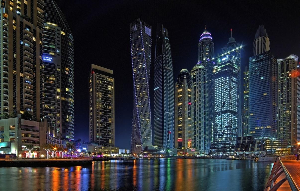 Man Made Burj Khalifa Dubai United Arab Emirates Cityscape Road Light Wallpaper Background Image Buildings