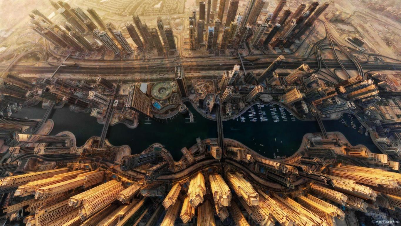 Man Made Dubai Cities Arab Emirates Architecture City Cityscape Aerial Panorama Building Skyscraper Hd Wallpaper Background Image United
