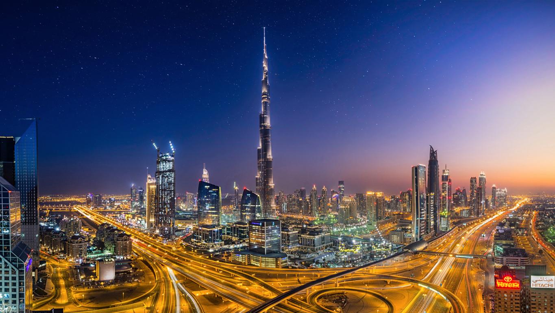 Man Made Dubai Cities Arab Emirates Burj Khalifa City Megapolis Night Hd Wallpaper Background Image United