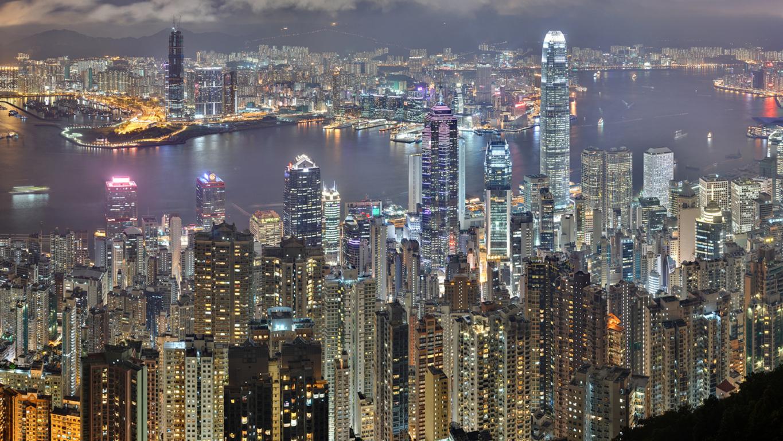 Man Made Hong Kong China City Light Skyscraper Night Building Reflection Hd Background Image Cities