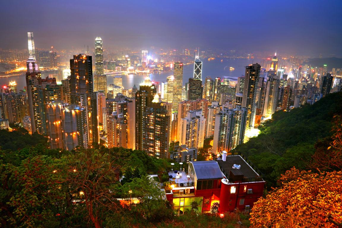 Man Made Hong Kong China City Light Skyscraper Night Building Reflection Wallpaper Background Image Cities