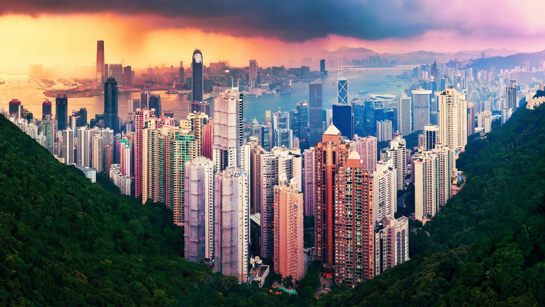 Man Made Hong Kong China Light Night City Building Skyline Hd Wallpaper Background Image Cities