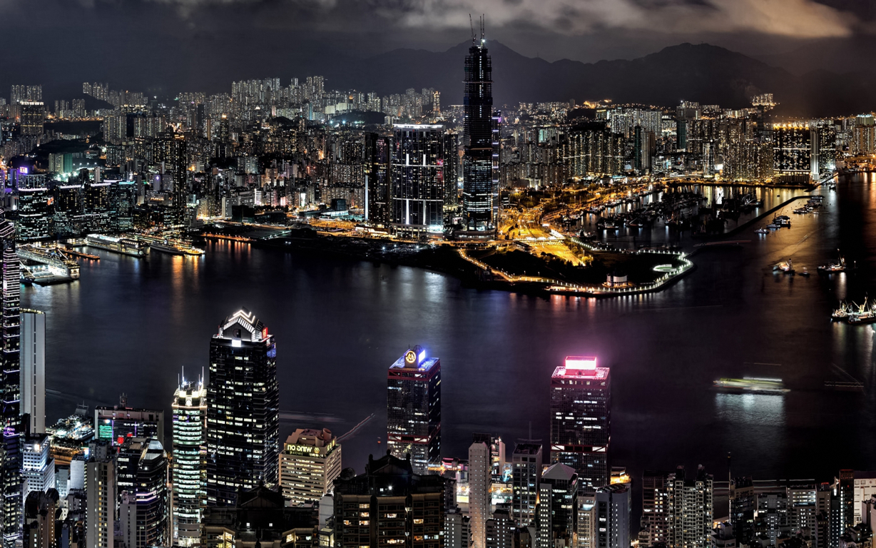 Man Made Hong Kong China Reflection Twilight Architecture Building Cityscape Hd Wallpaper Image Cities