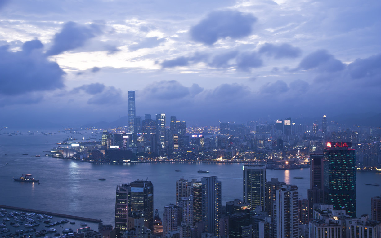 Man Made Hong Kong China Sunset Victoria Harbour City Megapolis Building Architecture Light Hd Background Image Cities