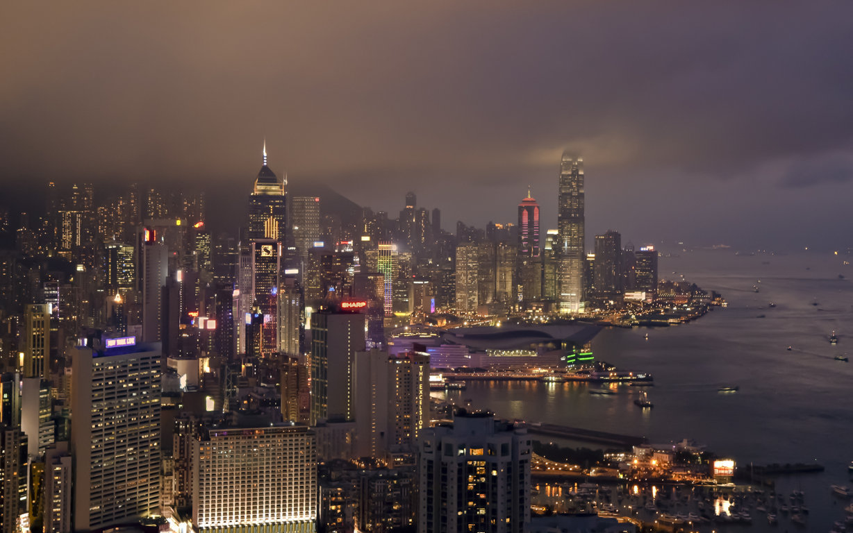 Man Made Hong Kong China Sunset Victoria Harbour City Megapolis Building Architecture Light Hd Wallpaper Background Cities