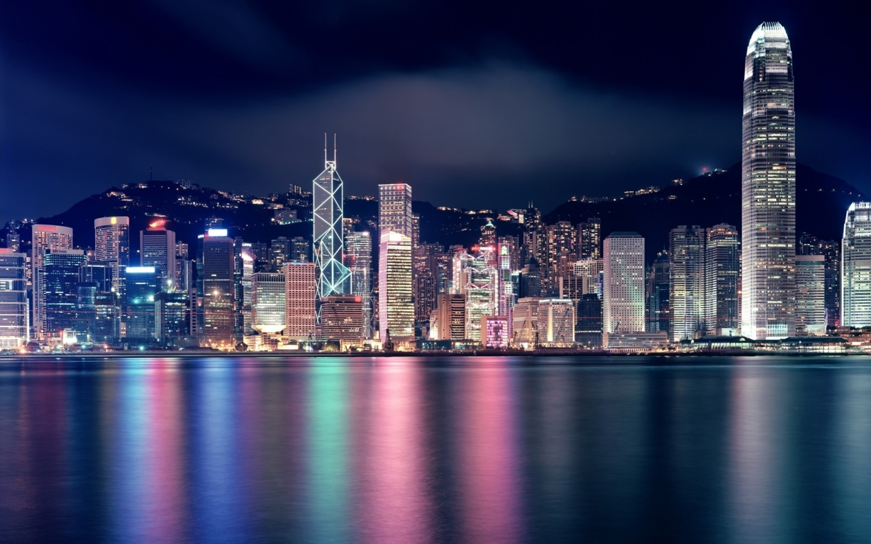 Man Made Hong Kong China Sunset Victoria Harbour City Megapolis Building Architecture Light Hd Wallpaper Background Image Cities