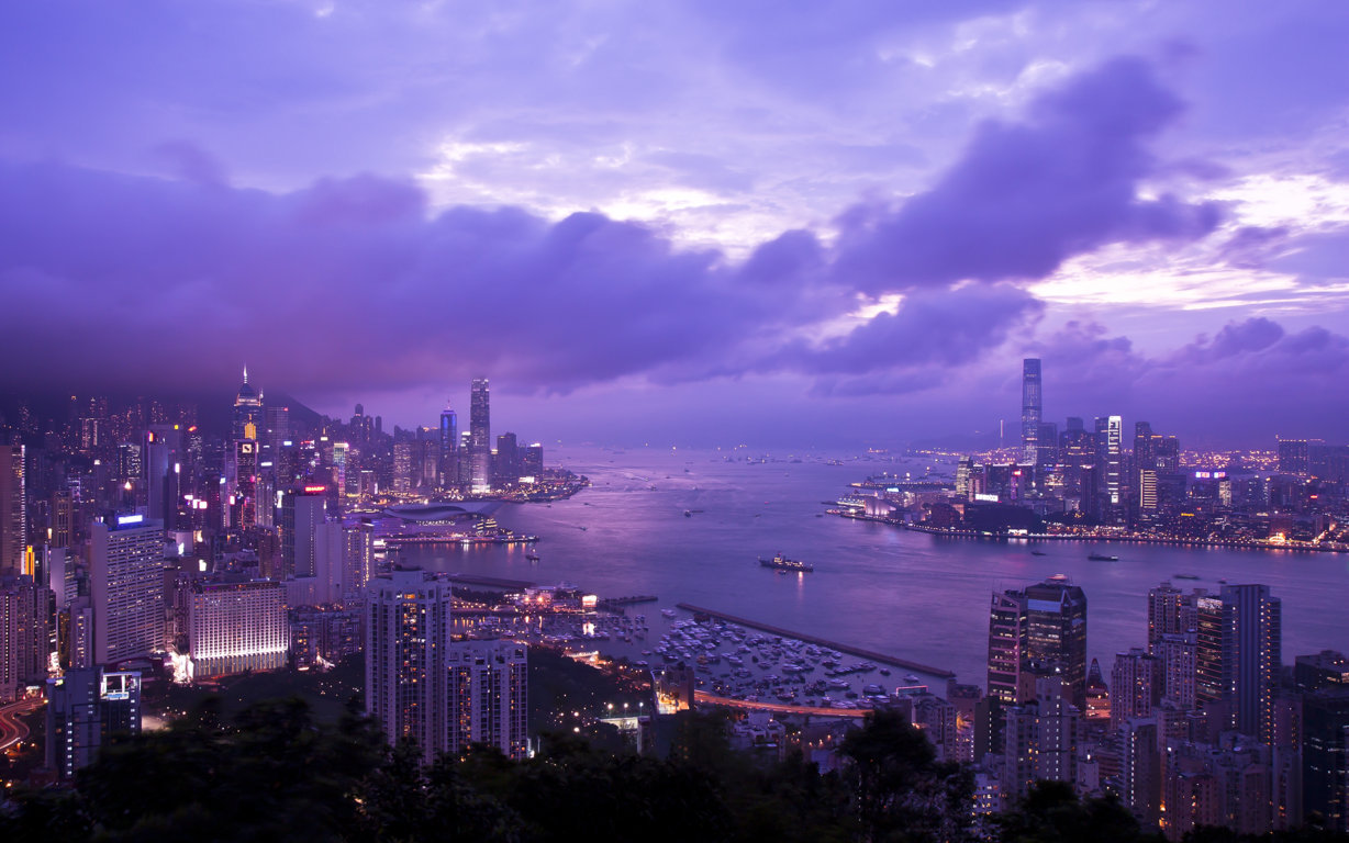 Man Made Hong Kong China Sunset Victoria Harbour City Megapolis Building Architecture Light Hd Wallpaper Image Cities