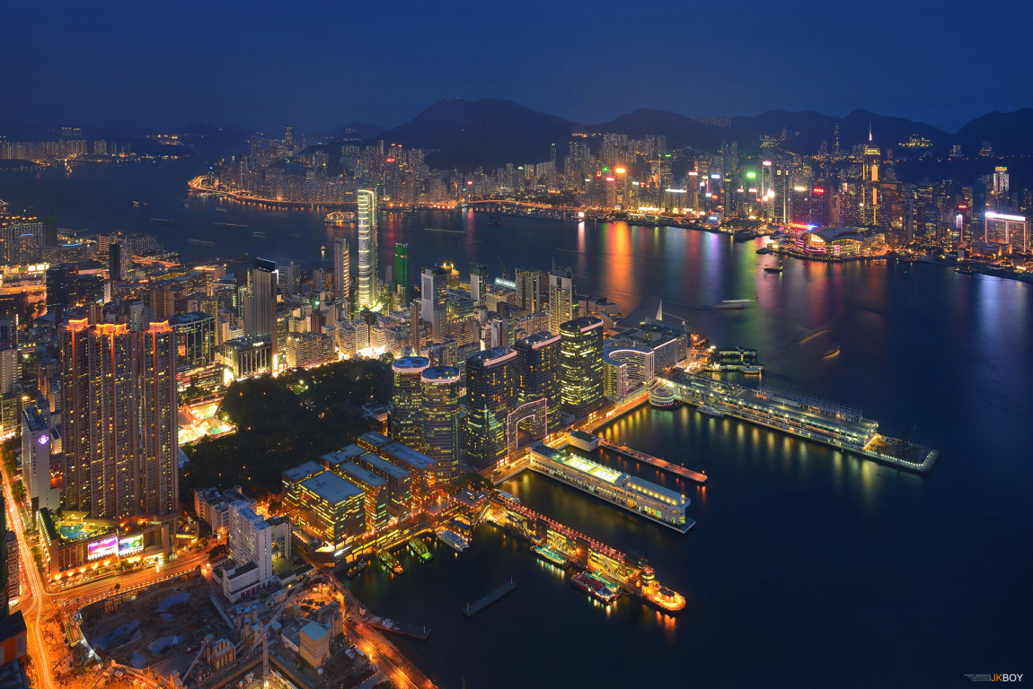 Man Made Hong Kong China Sunset Victoria Harbour City Megapolis Building Architecture Light Wallpaper Background Image Cities
