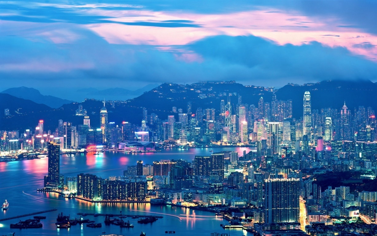 Man Made Hong Kong China Victoria Harbour City Skyscraper Sky Cloud Wallpaper Background Image Cities