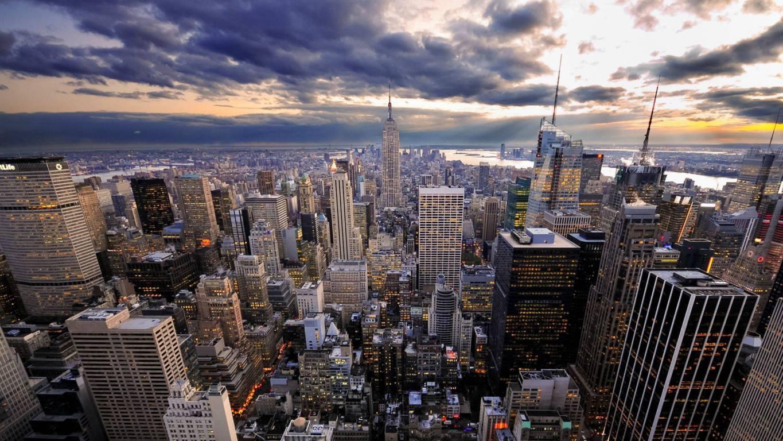 Man Made New York United States City Building Skyscraper Night Light Manhattan Hd Wallpaper Background Cities