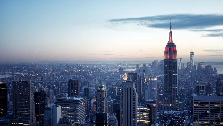Man Made New York United States City Building Skyscraper Night Light Manhattan Hd Wallpaper Background Image Cities
