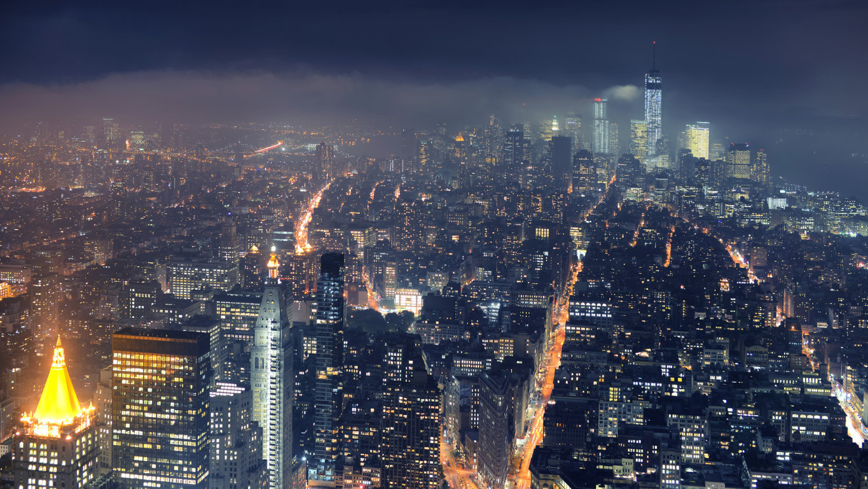 Man Made New York United States City Building Skyscraper Night Light Manhattan Hd Wallpaper Image Cities