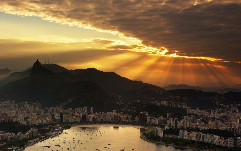 Man Made Rio De Cities Brazil Cityscape Light Night Architecture Building Hd Background Image Janeiro