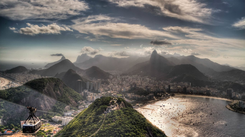Man Made Rio De Cities Brazil Lightning Cloud Storm Mountain Bay Hd Wallpaper Janeiro