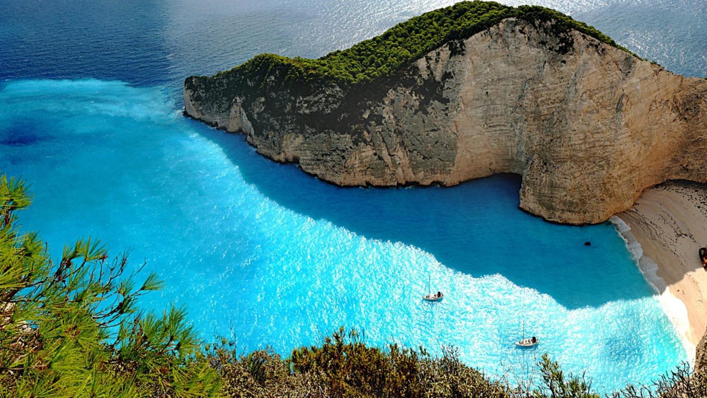 Man Made Santorini Towns Sea Island Cruise Ship Hd Wallpaper Image Greece
