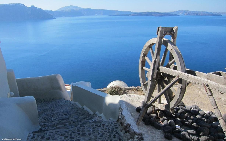 Man Made Santorini Towns Sunshine Island Horizon House Hd Background Image Greece