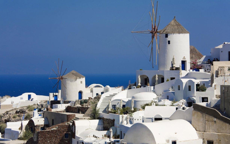 Man Made Santorini Towns Sunshine Island Horizon House Hd Wallpaper Background Greece