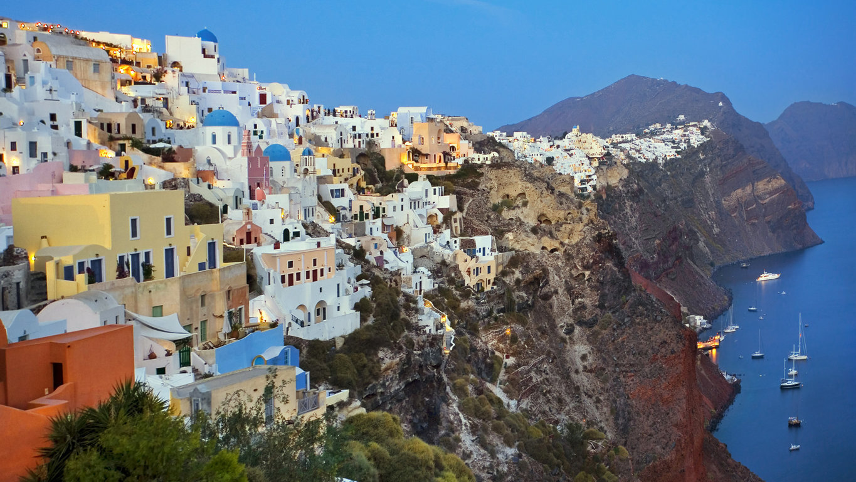 Man Made Santorini Towns Sunshine Island Horizon House Hd Wallpaper Image Greece