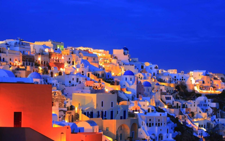 Man Made Santorini Towns Sunshine Island Horizon House Wallpaper Background Image Greece