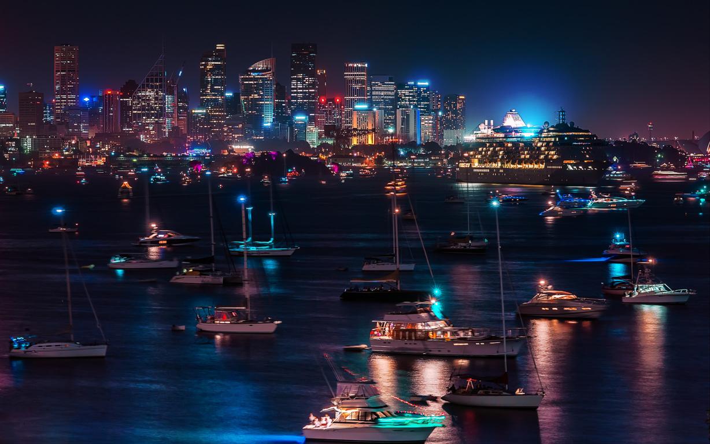Man Made Sydney Cities City Aerial Boat Cityscape Horizon Sydney Harbour Sydney Harbour Bridge Hd Wallpaper Image Australia