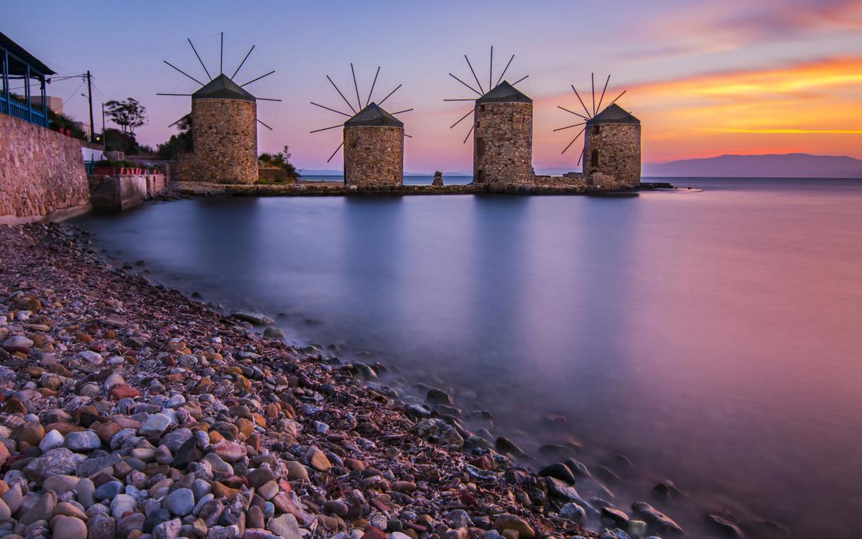 Man Made Village Crete Night Light House Reflection Image Greece
