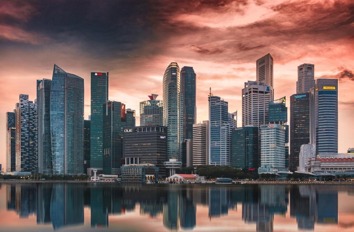 Singapore Harbor Buildings Skyscrapers Wallpaper Reflection