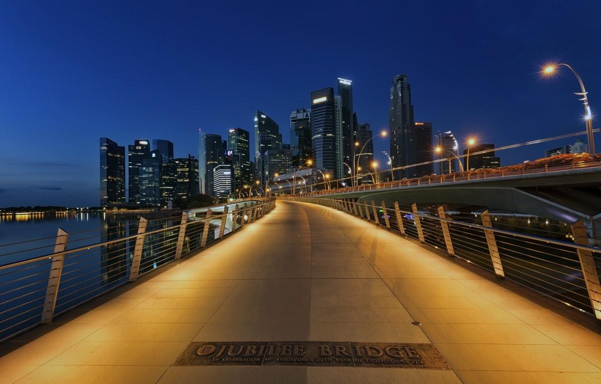Wallpaper Singapore Helix Bridge Night Rivers Cities Houses Bridges