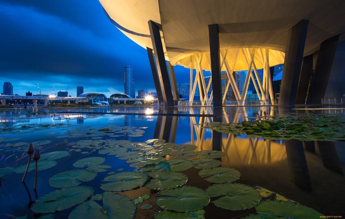 Wallpaper Singapore Marina Bay View Architecture Night