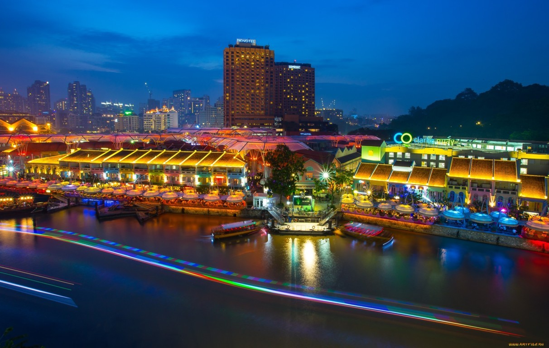 Wallpaper Singapore Marina Bay View Architecture Skyline Night