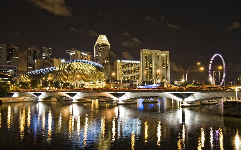 Wallpaper Singapore Night View Skyline Architecture